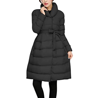 f745fac65ec BSGSH Coats For Women Winter Elegant Thickened Belted A-Line Solid Down  Jacket Parka (