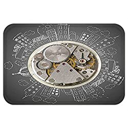 VROSELV Custom Door MatClock Decor An Alarm Clock Print with Buildingand CloudAround It Checking the Time Beige and White