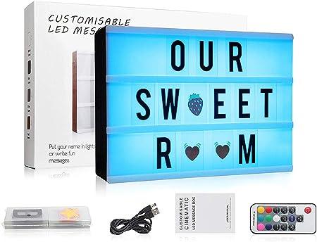 Caja de Luz Cine, A4 LED Cinema Light Letras Box, Cambio de Colore Cinematográfica Box con 120 Letras  Emojis   Símbolos Personaliza tu Propio Mensaje - Control Remoto: Amazon.es: Hogar