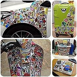 Cool Sticker 100pcs Random Music Film Vinyl Skateboard Guitar Travel Case Sticker Door Laptop Luggage Car Bike Bicycle Stickers (300pcs)