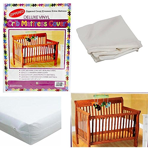 Price comparison product image Crib Size Zippered Mattress Cover Vinyl Toddler Bed Allergy Dust Bug Protector !