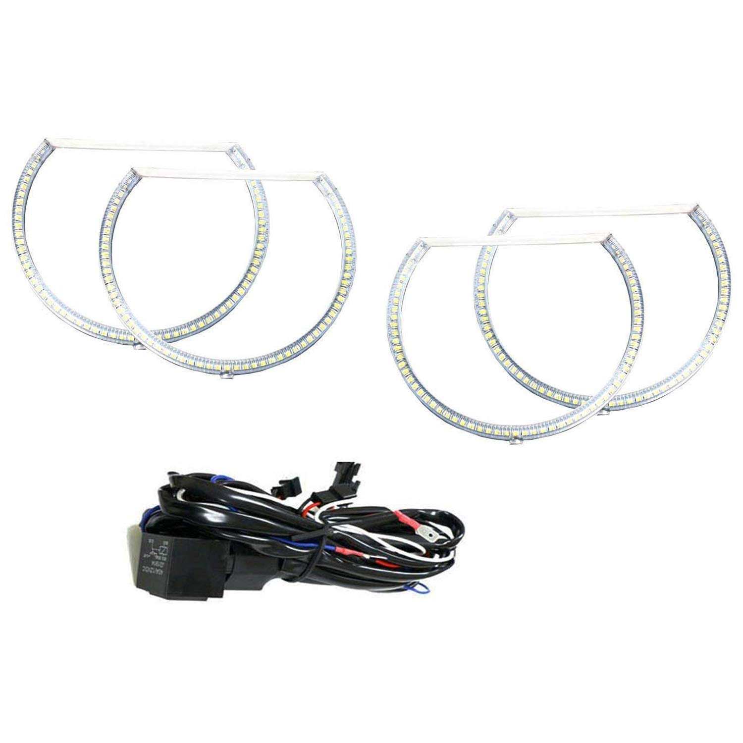 iJDMTOY Complete Set 4-Ring 252-SMD LED Angel Eye Halo Rings Kit w//Relay Harness For 2008-2014 Dodge Challenger Headlight Retrofit Xenon White