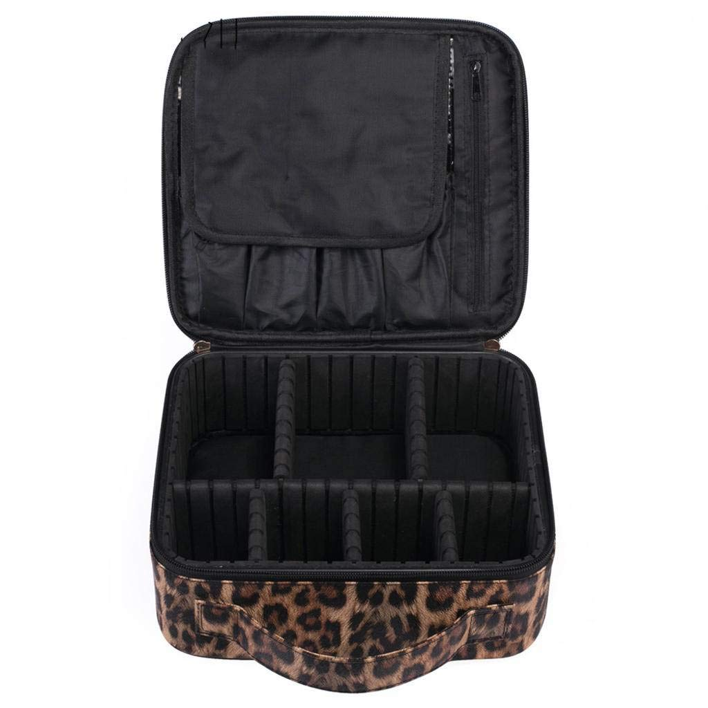 Multifunctional PU Leather Waterproof Cosmetic Bag, Travel Storage Bag with Adjustable Padded Dividers Leopard print