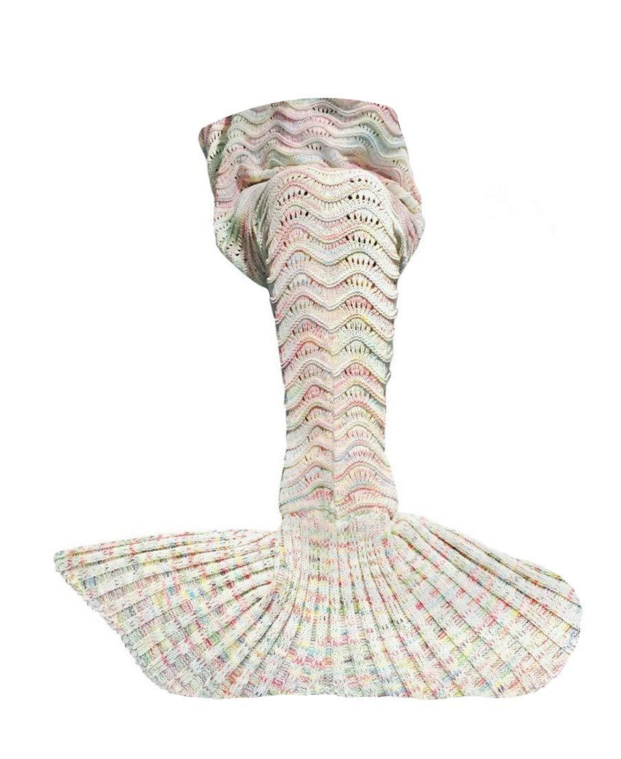 ABC OUTLET Mermaid Tail Blanket Crochet Mermaid Blanket Girls Teens. Kids Mermaid Tail Blanket Knitted Mermaid Tail Sleeping Bag Bed, Sofa Couch. All Seasons Sleeping Blankets Girls Beige.