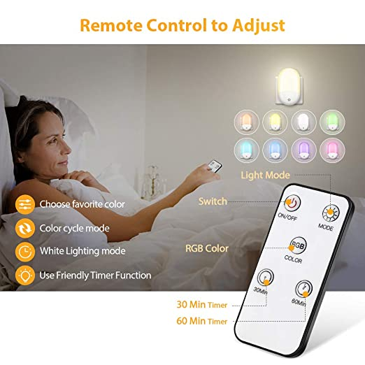 Timing Setting Warm Light and 8 Color Switchable for Baby Room,Bedroom,Kitchen Work at Night GRESATEK Smart Remote RGB Night Light with Dusk to Dawn Sensor Plug-in LED Night Lights for Kids