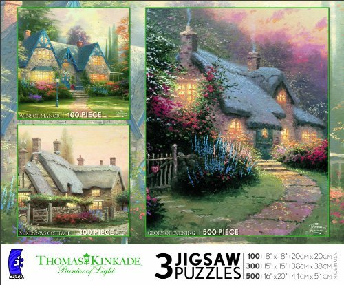 Thomas Kinkade 3 Puzzles Box Set (Winsor Manor, McKenna's Cottage and Glory of Evening) MADE IN USA PUZZLE