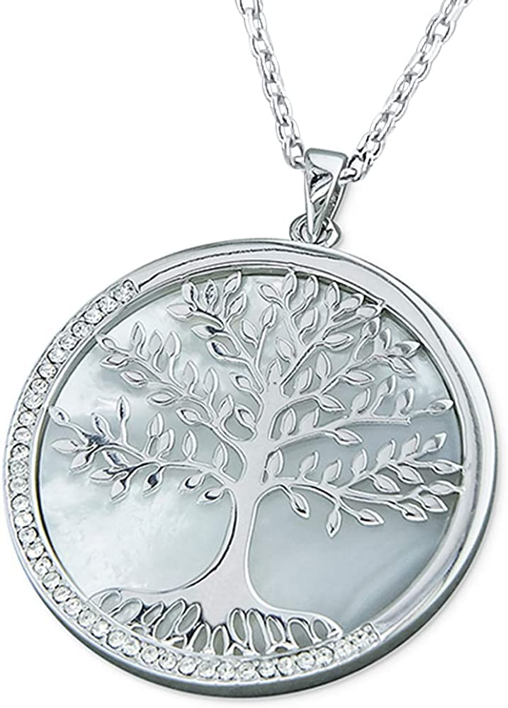 925 STERLING SILVER CZ /&  MOTHER OF PEARL /& TREE OF LIFE PENDANT