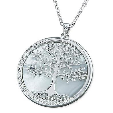 2bb77e0de415e Kiara Bijoux Argent sterling 925 Pendentif grand arbre de vie Ensemble  collier sur un disque de