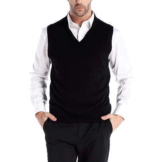 Kallspin Mens Cashmere Wool Blend Relax Fit Vest Knit V Neck