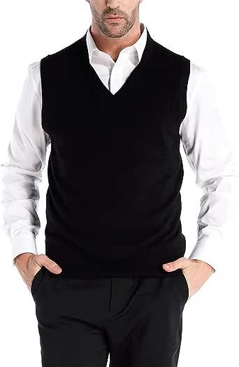 Kallspin Men's V Neck Sweater Vest Cashmere Wool Blend Relax Fit Knit Sleeveless Pullover