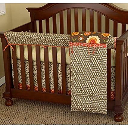 Amazon 4 piece baby girls brown white pink flower crib bedding 4 piece baby girls brown white pink flower crib bedding set newborn floral themed nursery mightylinksfo