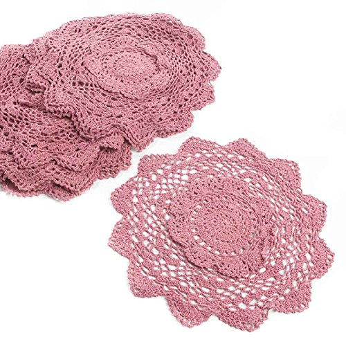 """12"""" Rose Pink Round Cotton Hand Crocheted Lace Doilies, Set of 12"""