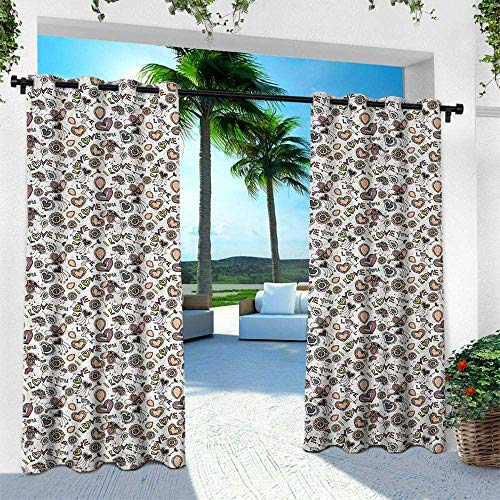 (Hengshu I Love You, Outdoor Privacy Porch Curtains,Abstract and Artful Amour Pattern Rich in Color Freehand Drawing Style Floral, W120 x L108 Inch, Multicolor)