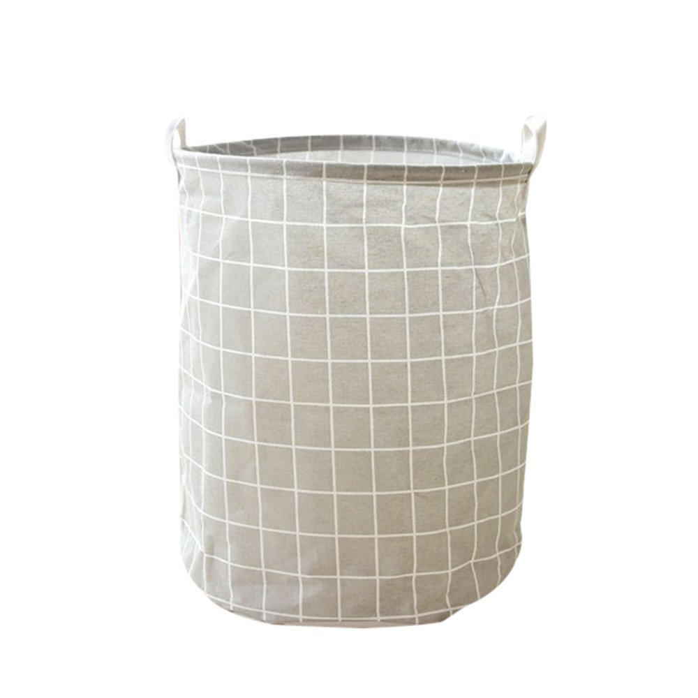 Collapsible Laundry Basket Storing Laundry Lattice Canvas Round Foldable Laundry Bin Durable Waterproof Laundry Organizer Bag for Bedroom Bathroom Dorm or Laundry 18x14'' (Gray)