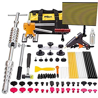 Mookis Paintless Dent Repair Tools, 77PCS Dent Removal Tools with Slider Hammer Lifter Dent Lifter, Bridge Puller Set, LED Line Board, Glue Stricks, Pro Pulling Tabs Kit: Automotive