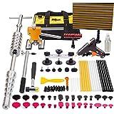 Mookis Paintless Dent Repair Tools, 77PCS PDR Tools with Slider Hammer Lifter Dent Lifter, Bridge Puller Set, LED Line Board, Glue Stricks, Pro Pulling Tabs Kit
