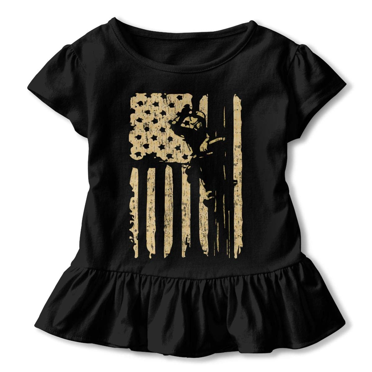 Cheng Jian Bo Lineman US Flag Gift Toddler Girls T Shirt Kids Cotton Short Sleeve Ruffle Tee