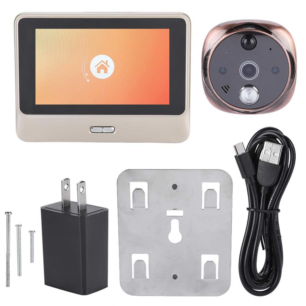 Zetiling Video Doorbell, WiFi Network Real-time Intercom Doorphone with Spyhole Smart Viewer Door Bell for Home Apartment