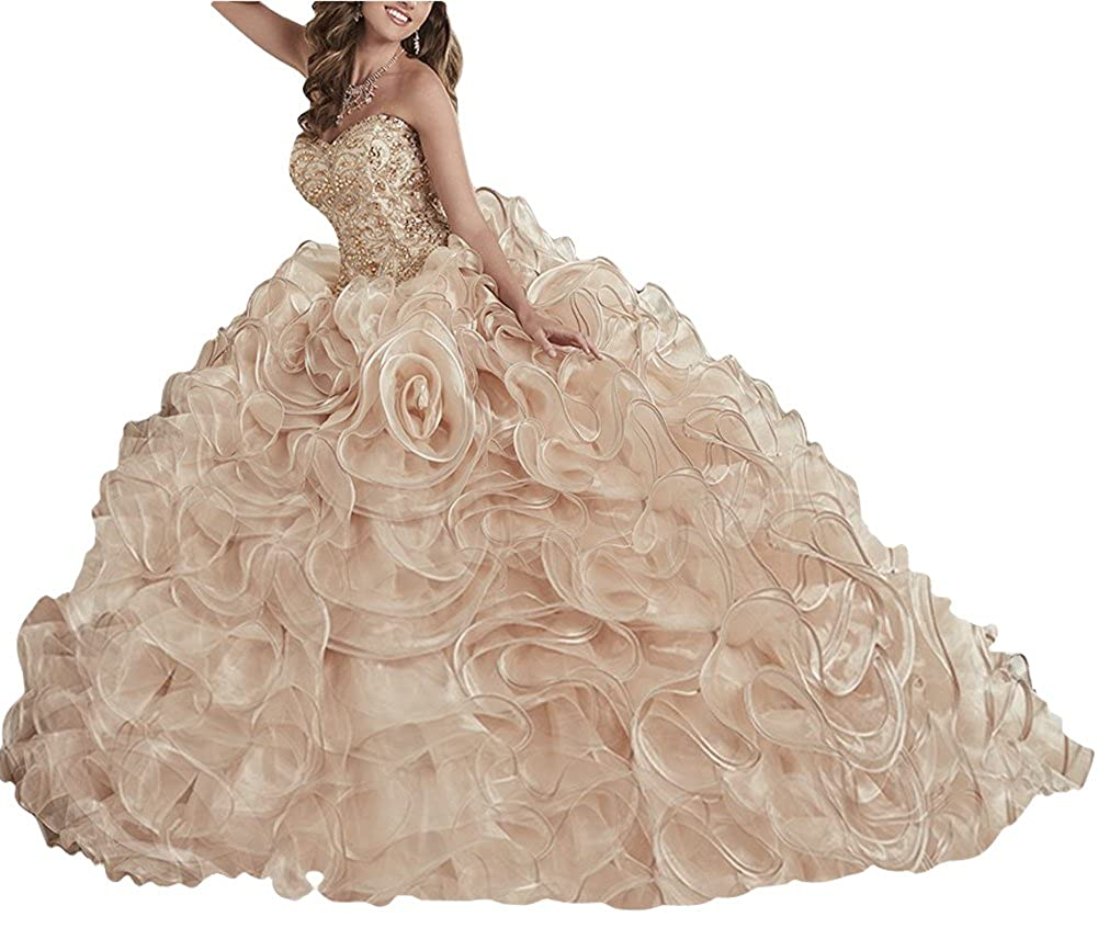 fd5502521f1 Amazon.com  MCandy Womens Gold Glitz Ball Gowns Sweet 16 Girls Prom Quinceanera  Dresses  Clothing
