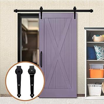 14FT/427cm Herraje para Puerta Corredera Kit de Accesorios para Puertas Correderas,Negro A-Forma: Amazon.es: Bricolaje y herramientas