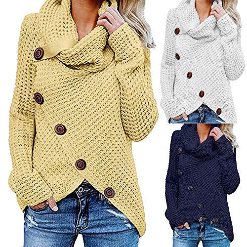 Longues Manches Pulls Femme Sunyywill Bouton Pull À La Jaune Sweatshirt Mode R4q67IXf6