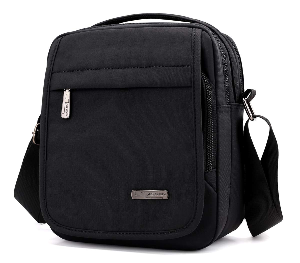 Collsants Small Messenger Bag Nylon Crossbody Bag Multi Travel Shoulder Bag For Men Women (Black)