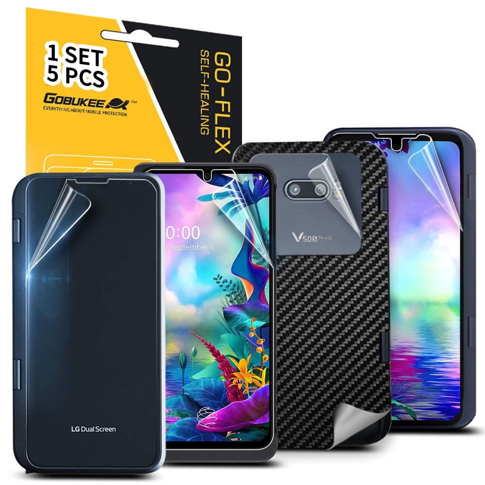 5 Pack GOBUKEE for LG G8X ThinQ Screen Protector [4 Different PET Films] [1 Carbon Fiber Film] Anti Scratch Anti Fingerprint [Not Tempered Glass]