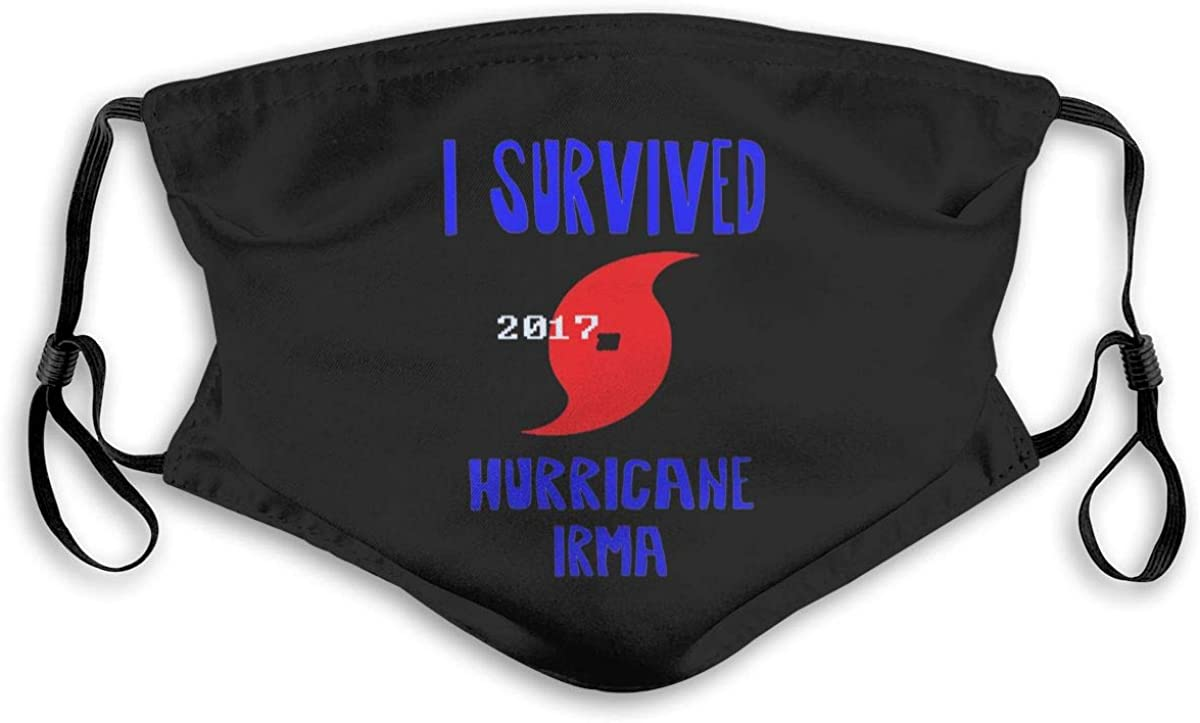 I Survived Hurricane Irma Men Women Dust Face Mask Breathable Mouth Cover with Filter Chip