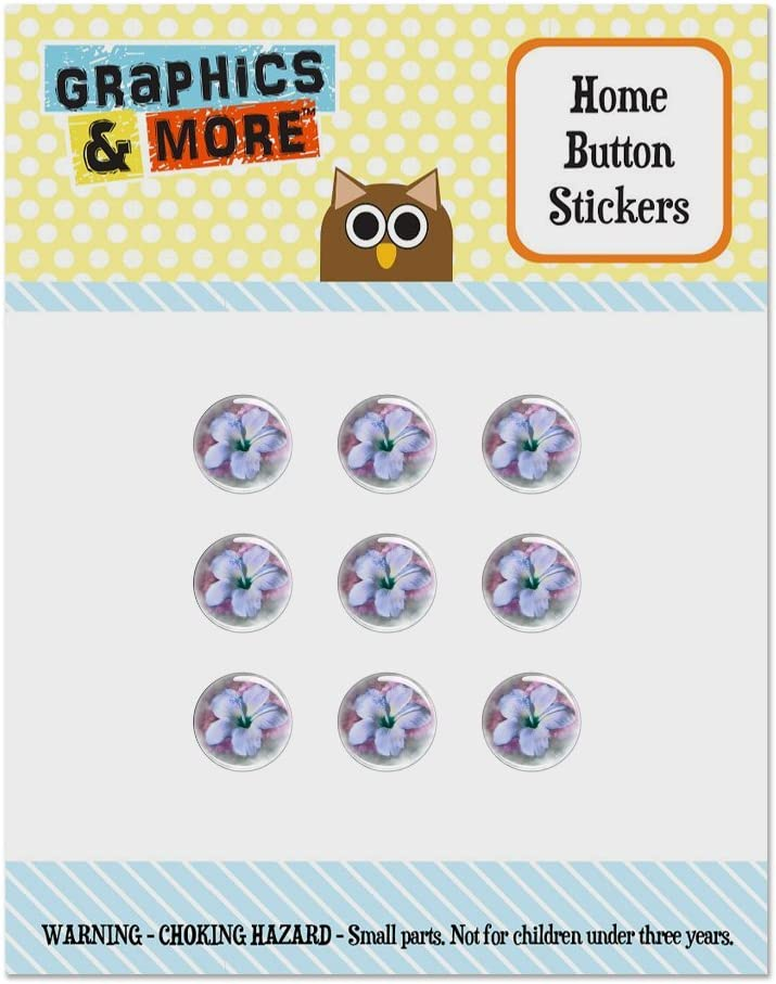Tropical Blue Hibiscus Hawaiian Bloom Set of 9 Puffy Bubble Home Button Stickers Fit Apple iPod Touch, iPad Air Mini, iPhone 5/5c/5s 6/6s 7/7s Plus