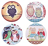 owl coffee cup cozy - Ceramic Owl Coasters for Drinks,3.6