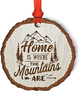 Andaz Press Real Wood Rustic Farmhouse Keepsake Christmas Ornament, Engraved Wood Slab, Home is Where The Mountains are, 1-Pack, Includes Ribbon and Gift Bag