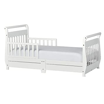 Amazoncom Dream On Me Toddler Bed With Storage Drawer White