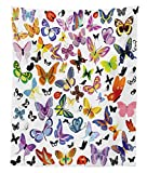 Lunarable Butterfly Tapestry Twin Size, Colorful Wings Design with Ladybugs an Assortment of Summer Season Fauna Elements, Wall Hanging Bedspread Bed Cover Wall Decor, 68 W X 88 L inches, Multicolor
