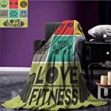 Fitness couch blanket Various Motivational Quotes in Colorful Frames Get Fit Active Healthy Lifestyle Custom Multicolor size:50''x60''