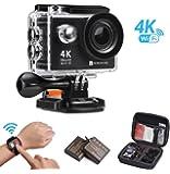 Action Camera impermeabile 4K Wi-Fi 1080p 12MP fotocamera subacquea sport 5,1cm schermo LCD ultra grandangolare 170° 2pz 1050mAh batterie con custodia portatile DV registratore con kit di accessori di montaggio per ciclismo, nuoto, climbing, immersioni