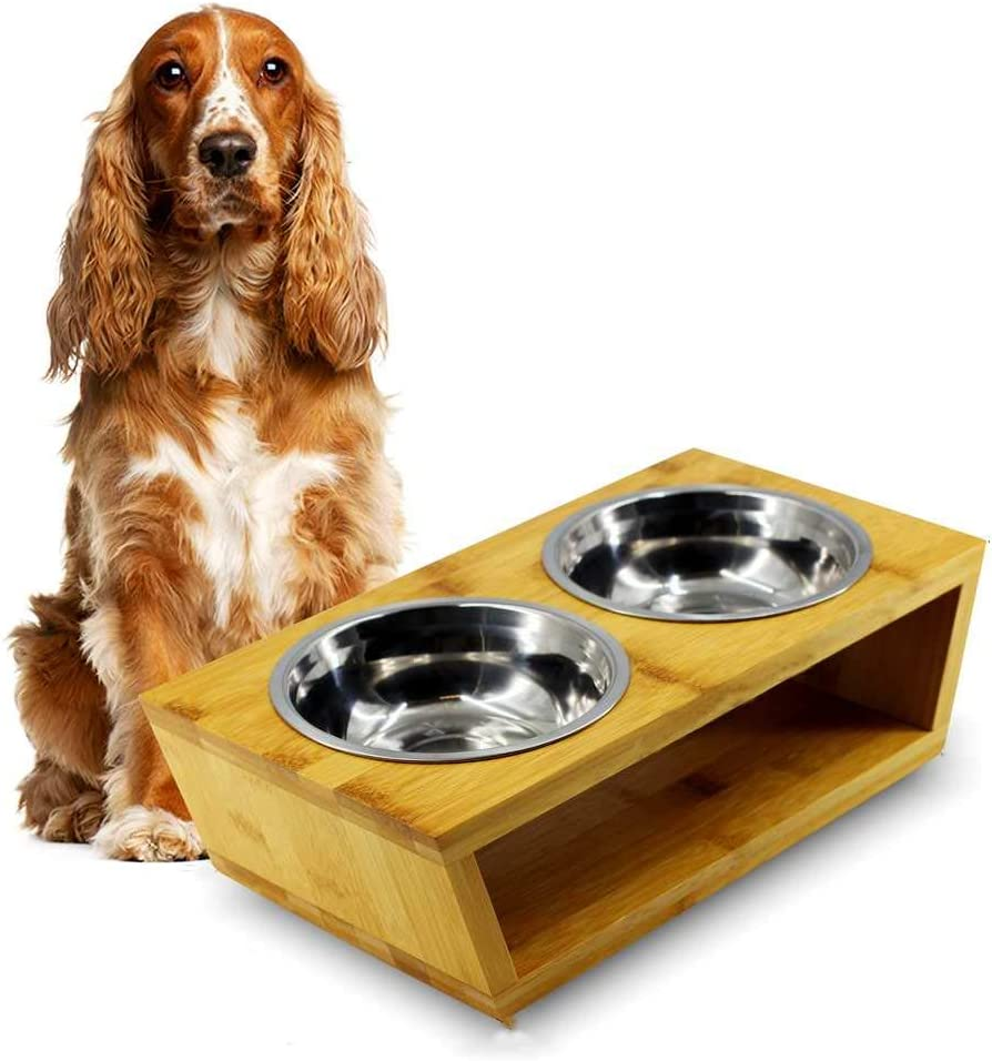 MMM YUMMY Raised Dog Bowls for Medium dogs - Raised Dog Bowls Station for Small or Medium Dogs - Made of Eco-Friendly Wood w/ Stainless Steel Food Bowls - Elevated Dog Bowls for Medium and Small Dogs