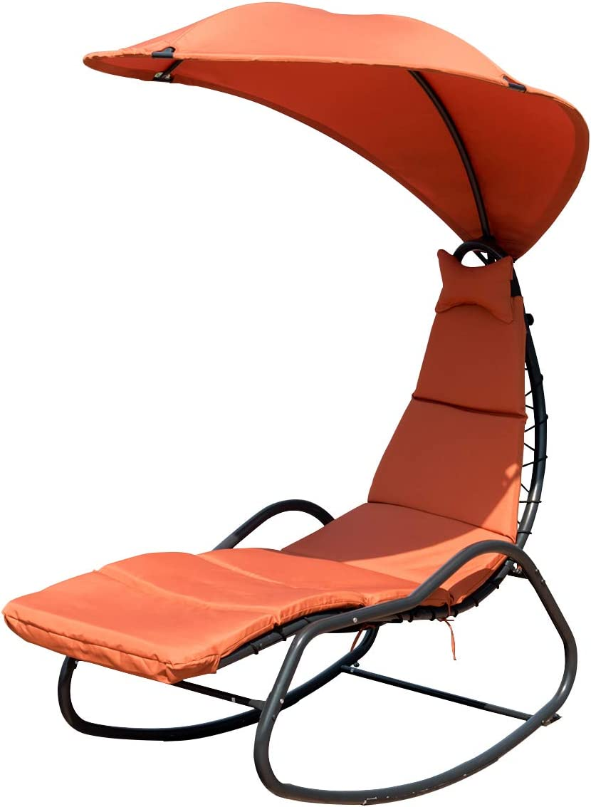 Giantex Chaise Lounge Swing, Outdoor Arc Stand Porch Swing Hammock Chair w Wide Canopy Sun Shade, Soft Cushion Removable Headres for Garden Backyard Poolside, Update Orange