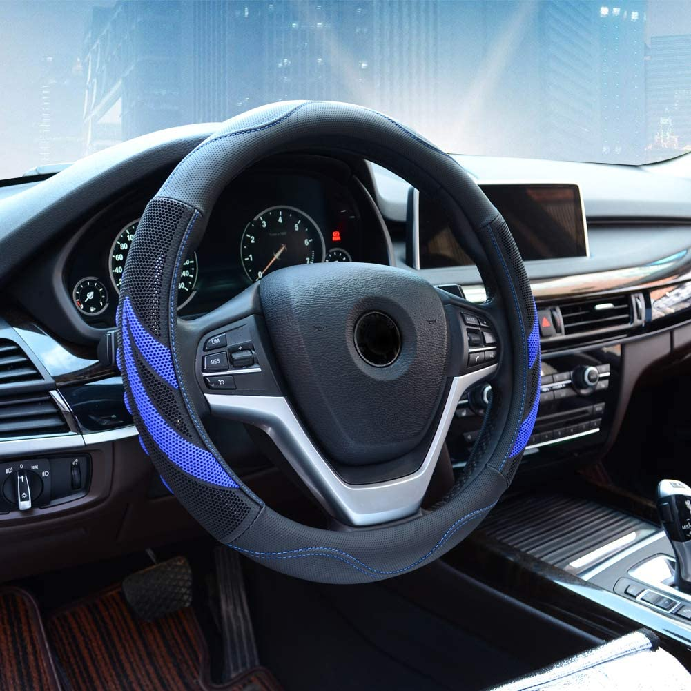 Breathable Black Anti-slip 15/'/'//38cm DIY Car Truck Leather Steering Wheel Cover