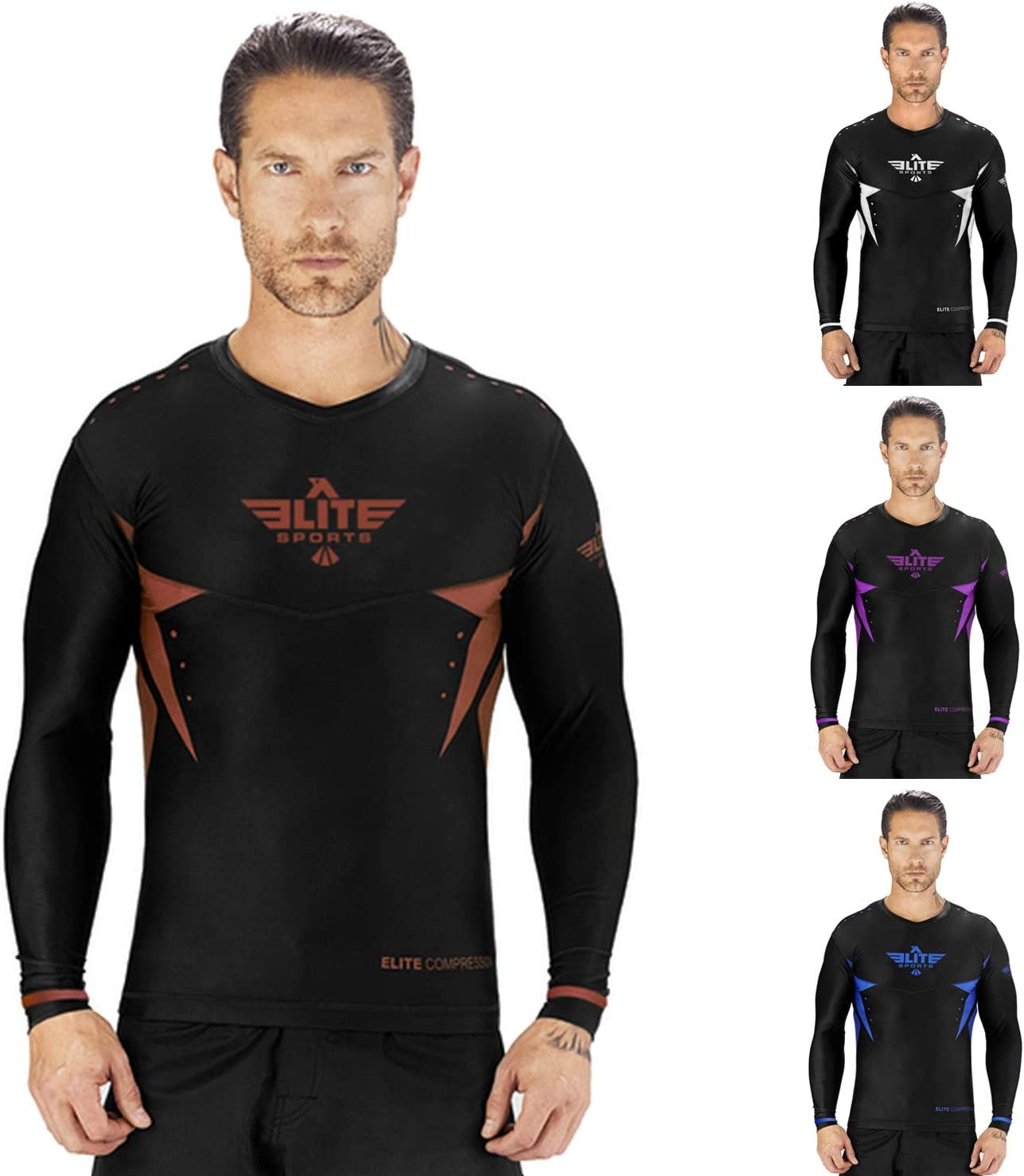 Elite Sports Star Full Sleeve Compression, MMA, BJJ, No-Gi, Cross Training Rash Guard