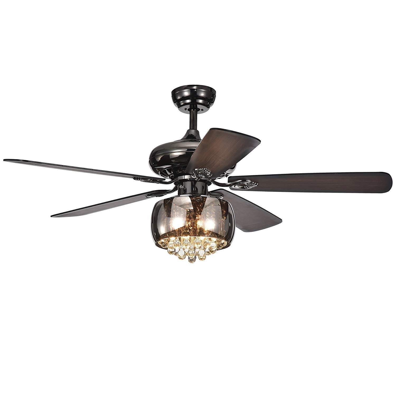 RainierLight 52 inch Modern Crystal Ceiling Fan Lamp 5 Reversible ...