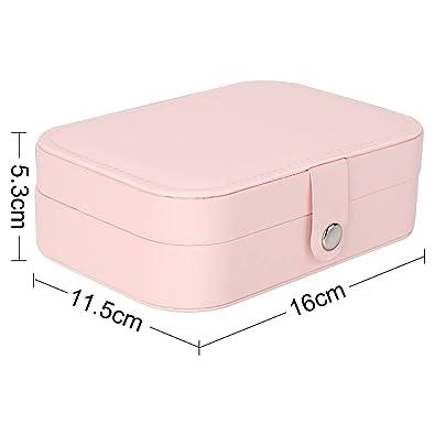 Reisen Schmuck Box Pink PU Leder Schmuck Aufbewahrungskoffer mit großem