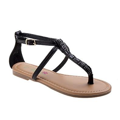 014efa417bae Petalia Girls Black Stone Decorated Buckle Thong Strap Sandals 1 Kids