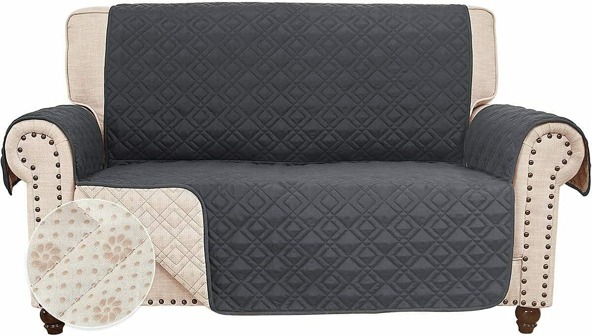 Anti-Slip Loveseat Covers for Leather Sofa Couch Slipcover Furniture Protector (Dark Grey, Loveseat)