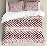 Poker Queen Size Duvet Cover Set by Lunarable, Abstract Symbols of Poker Hearts Spades Diamonds Clubs with Ornamental Swirls, Decorative 3 Piece Bedding Set with 2 Pillow Shams, Red Black White