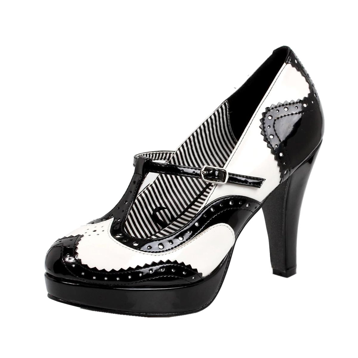 13f21461386 Amazon.com  Womens Black and White Heels T Strap Mary Jane Pumps Wingtip Shoes  4 Inch Heels  Clothing