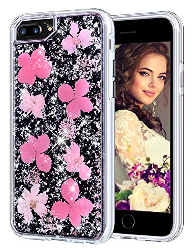 Coolden Case for iPhone 8 Plus Case iPhone 7 Plus Glitter Case with Dried Flower Cute Girly Durable Shockproof 2 Layers Solid PC TPU Cover Case for iPhone 6 Plus 6s Plus 7 Plus 8 Plus, Pink Flower
