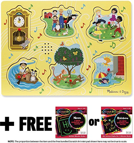 Sing-Along Nursery Rhymes 1: 6-Piece Sound Puzzle + FREE Melissa & Doug Scratch Art Mini-Pad Bundle (07351)