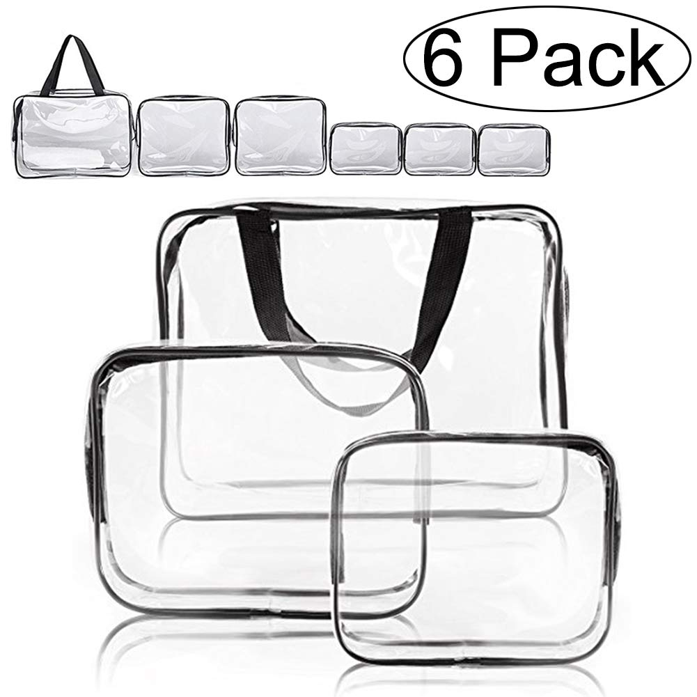 Clear Makeup Bags, APREUTY TSA Approved 6Pcs Cosmetic Makeup Bags Set Waterproof Clear PVC with Zipper Handle Portable Travel Luggage Pouch Airport Airline Bags Vacation Gym Bathroom Organization