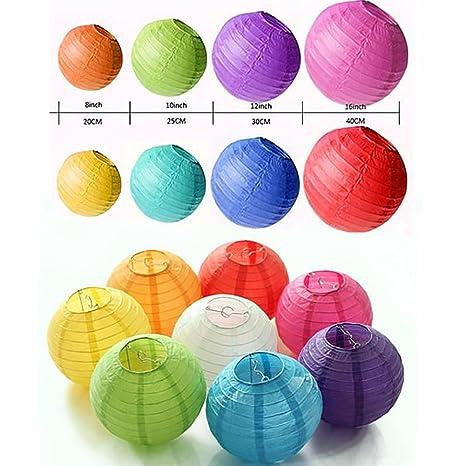 amazon com 14 pcs colorful paper lanterns multicolor size of 4 6