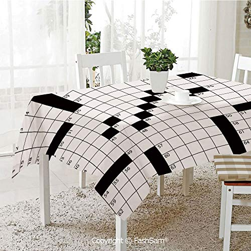 AmaUncle Premium Waterproof Table Cover Blank Newspaper Style Crossword Puzzle with Numbers in Word Grid Decorative Table Protectors for Family Dinners (W55 xL72)